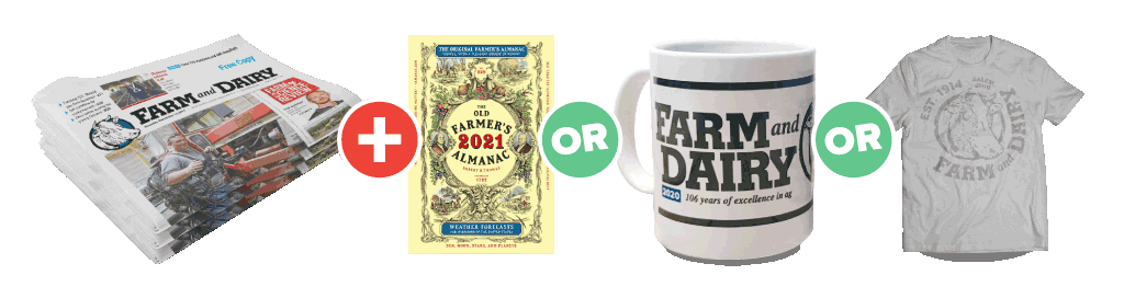 Purchase a Farm and Dairy Subscription and choose one of the following: 2021 Farmers Almanac, a 2020 Farm and Dairy mug, or a Farm and Dairy T-shirt