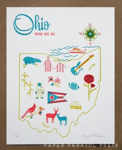 Ohio letterpress print