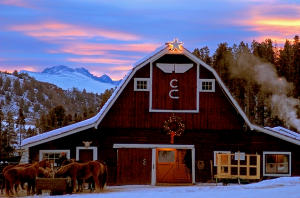 Barn decorated for Christmas