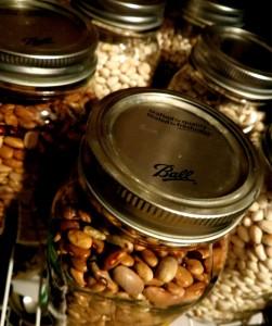 beans in Mason jars
