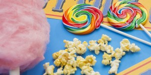 cotton candy, popcorn and lollipops