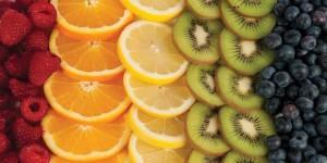 raspberries, oranges, lemons, kiwi, blueberries