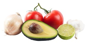 onion, tomatoes, garlic, lime and avocado
